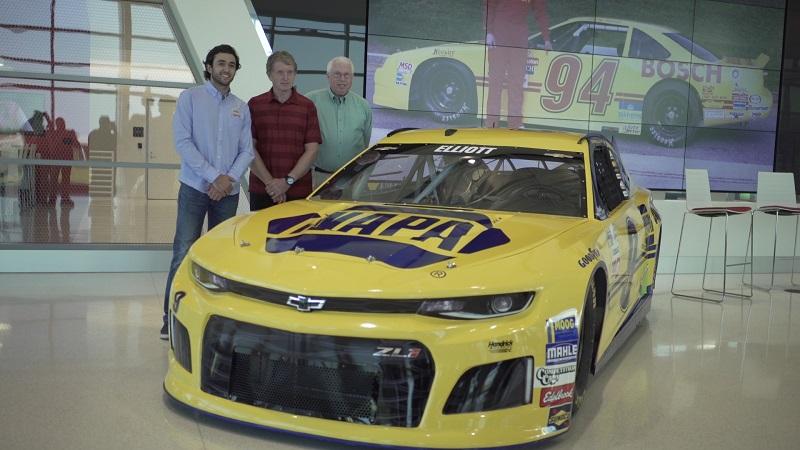 Chase Elliott NAPA throwback paint scheme 2018 reveal three Elliotts