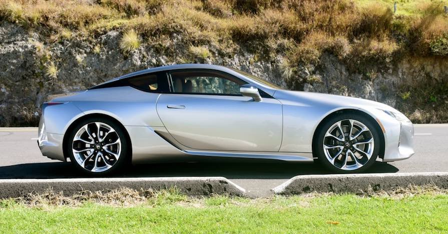 This Lexus LC 500, a sleek two-door luxury coupe, utilizes carbon fiber on the interior and exterior of the car.