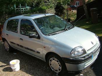 A car in mid-wash.