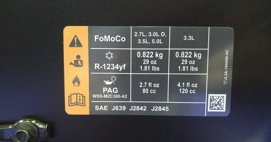 1234yf Refrigerant used in a new Ford truck