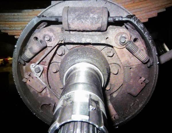Brake shoes on drum-type brakes (minus the drum)