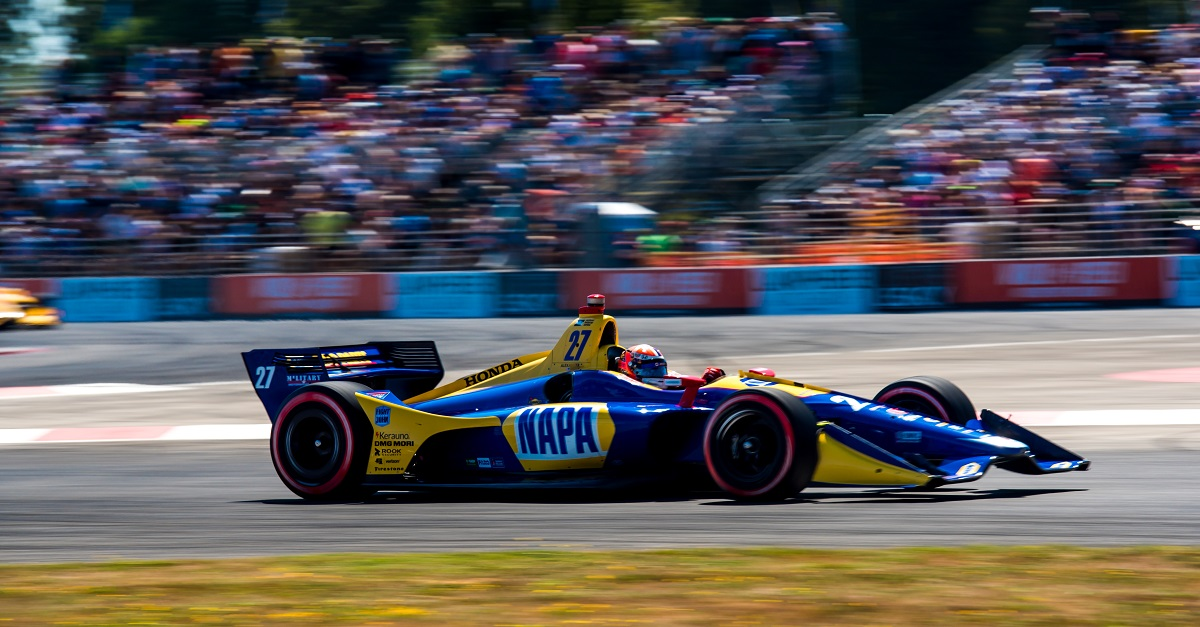 | Photographer: Dan Bathie| Event: Grand Prix of Portland | Circuit: Portland International Raceway| Location: Portland, OR| Series: Verizon IndyCar Series| Season: 2018| Country: US| Keyword: motor racing| Keyword: motorsport| | Session: Race| | Driver: Alexander Rossi| Team: Andretti Autosport| Number: 27| Car: Honda|