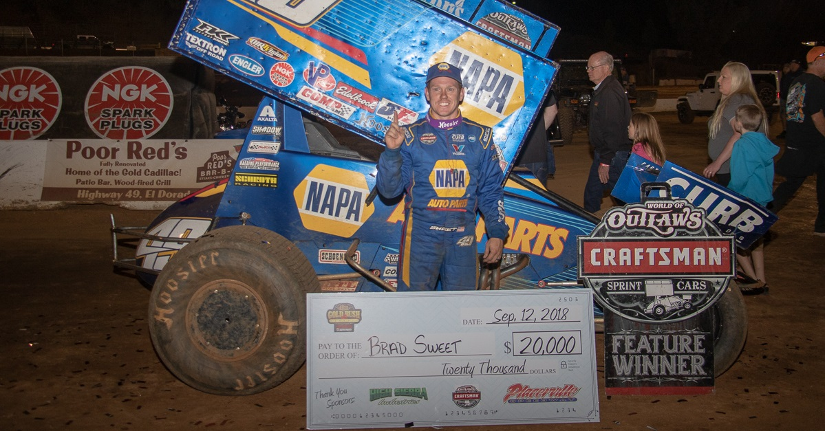 Brad Sweet Placerville Speedway World of Outlaws winner feat