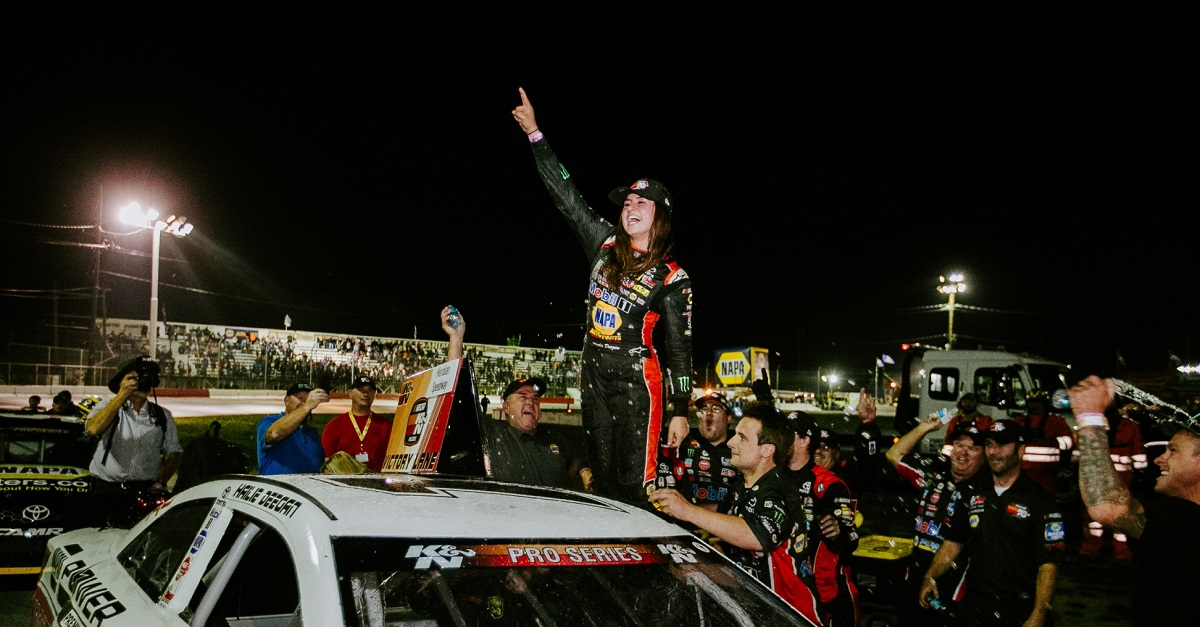 Hailie Deegan first female win NASCAR KN Pro Series NAPA 2018 celebration
