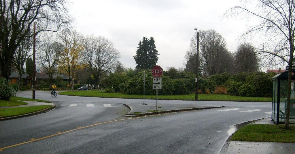 A traffic circle in the middle of Ladd's Addition in Portland, Oregon. Traffic circles are common driving challenges.