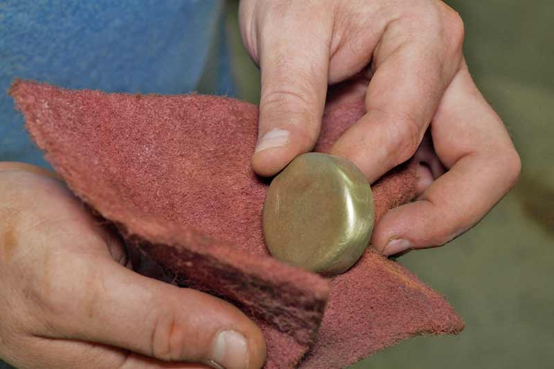 We also scuffed the new brass freeze plug with a Scotch-Brite™ pad.