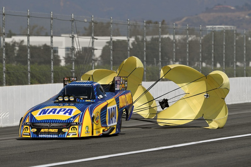 Ron Capps funny car chutes out