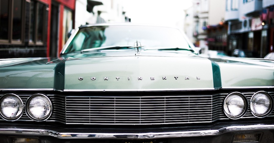 The lengthy grille on a Lincoln Continental shields the car's radiator.