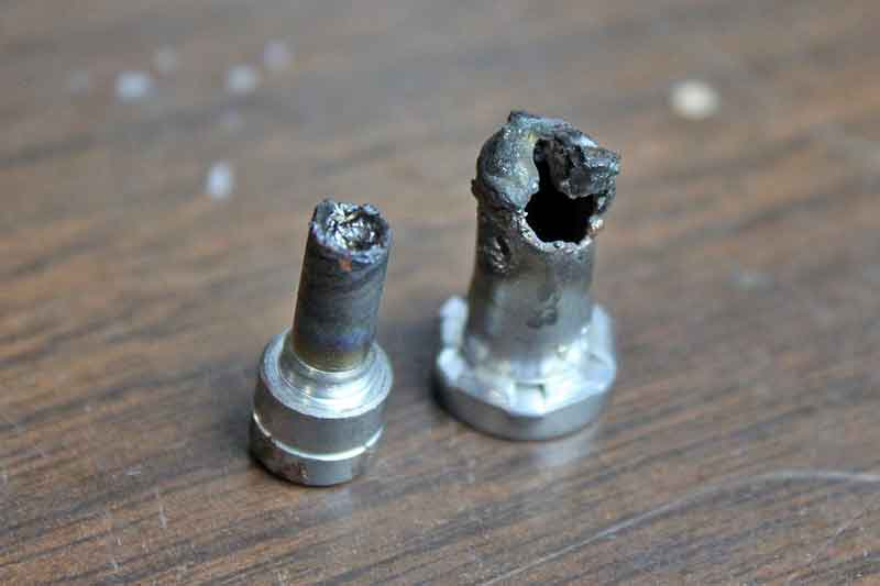 Consumables include tips, electrodes, cups, and swirl rings. The most commonly replaced items are the tips and electrodes. Shielded tips can last 6 months or more of regular use, but un-shielded tips like this don't last very long at all.