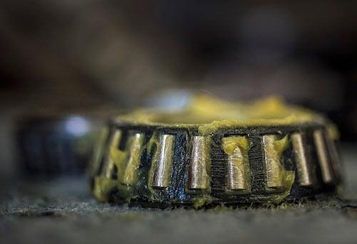 A greased wheel bearing