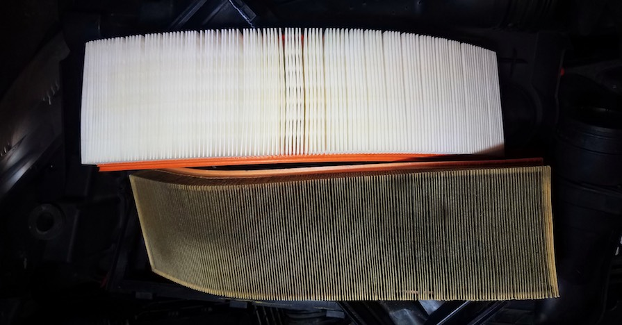 Comparison of a clean and a dirty air filter. An air filter is just one of many filters in your car. Here's a comprehensive list of all of the filters on your car.