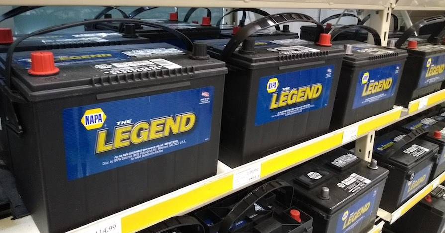 A car battery display.