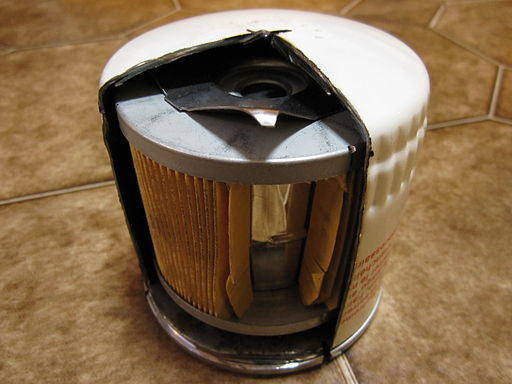 Cutaway of oil filter, allowing look inside