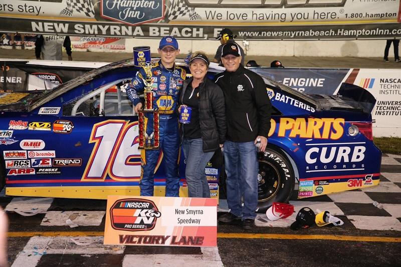 Derek Kraus winner NASCAR KN East New Smyrna NAPA AUTO PARTS VL Rearden