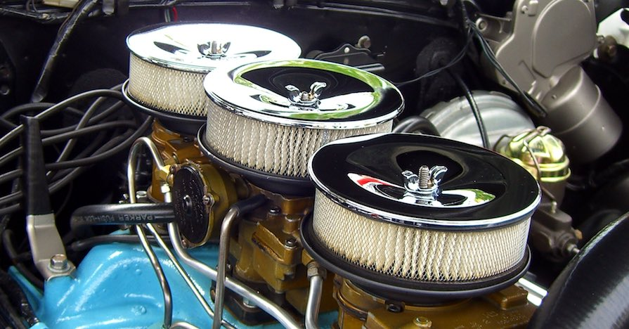 Engine air filters on a car.