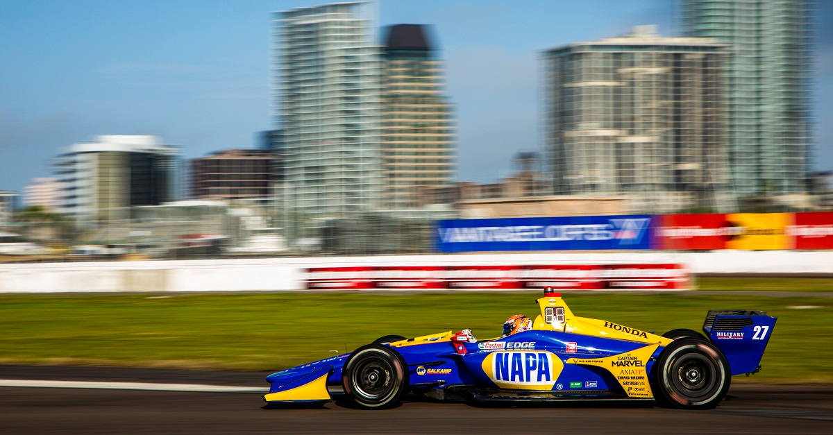 | Driver: Alexander Rossi| Team: Andretti Autosport| Number: 27| Car: Dallara DW12 UAK18| Keyword: Honda|Keyword: NAPA Auto Parts|| Photographer: Andy Clary| Event: Firestone Grand Prix of St Petersburg| Circuit: Streets of St Petersburg| Location: St Petersburg, Florida| Series: NTT IndyCar Series| Season: 2019| Country: US| Keyword: motor racing| Keyword: motorsport|Keyword: FL|Keyword: USA|Keyword: Albert Whitted Airport|Keyword: open wheel|Keyword: single seater|Keyword: road course|Keyword: street course|Keyword: street track|| Session: Final Warmup|