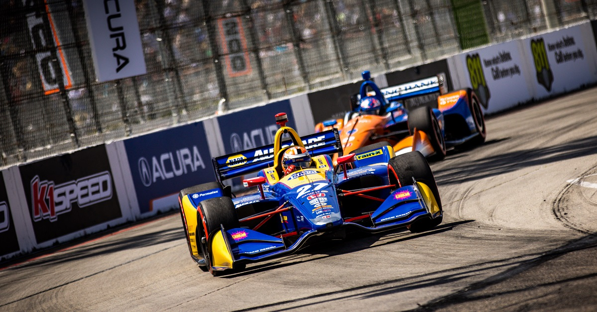 | Driver: Alexander Rossi| Team: Andretti Autosport| Number: 27| Car: Dallara DW12 UAK18| Keyword: Honda|Keyword: NAPA Auto Parts|| Driver: Scott Dixon| Team: Chip Ganassi Racing| Number: 9| Car: Dallara DW12 UAK18| Keyword: Honda|Keyword: PNC Bank|| Photographer: Andy Clary| Event: Acura Grand Prix of Long Beach| Circuit: Streets of Long Beach| Location: Long Beach, California| Series: NTT IndyCar Series| Season: 2019| Country: US| Keyword: motor racing| Keyword: motorsport|Keyword: CA|Keyword: USA|Keyword: street circuit|Keyword: open wheel|Keyword: single seater|Keyword: road course|Keyword: street track|Keyword: street race|Keyword: street course|| Session: Race|