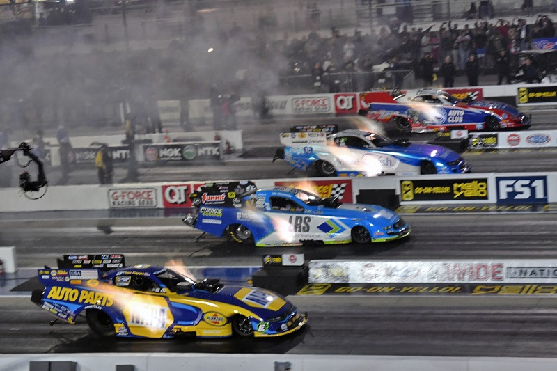 Ron Capps Charlotte 4-wide NAPA AUTO PARTS funny car NHRA Friday night qualifying