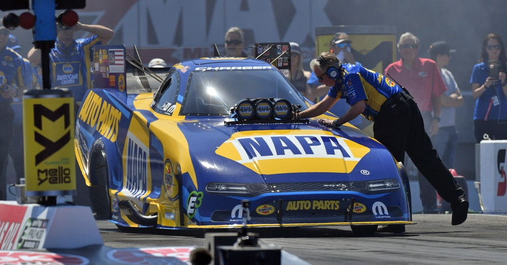 Ron Capps Charlotte 4-wide NAPA AUTO PARTS funny car Tobler line