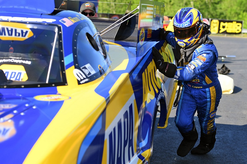 Ron Capps Charlotte 4-wide NAPA AUTO PARTS funny car NHRA firesuit