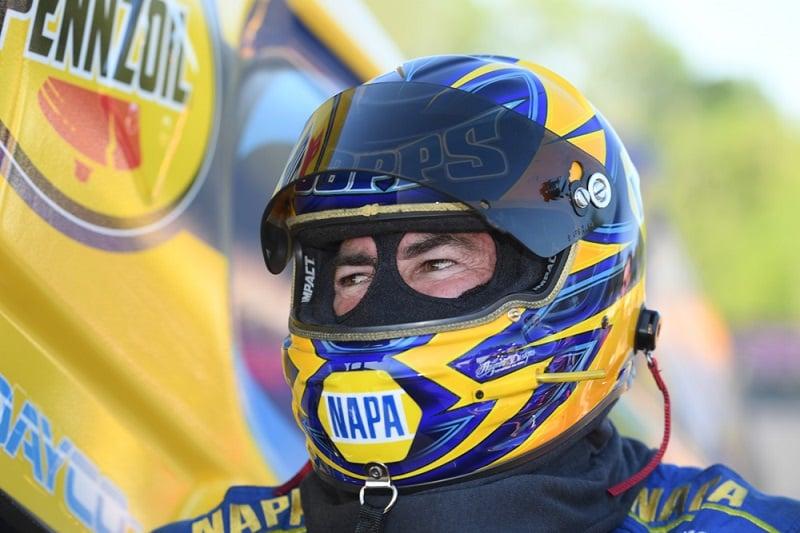Ron Capps Charlotte 4-wide NAPA AUTO PARTS funny car NHRA helmet