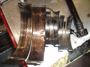 High mileage oil can't repair things like these spun crankshaft bearings.
