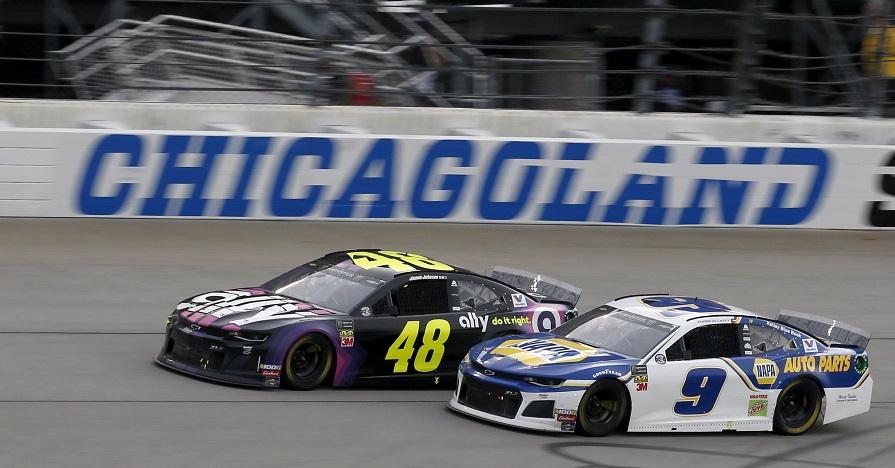 #48: Jimmie Johnson, Hendrick Motorsports, Chevrolet Camaro Ally #9: Chase Elliott, Hendrick Motorsports, Chevrolet Camaro NAPA AUTO PARTS