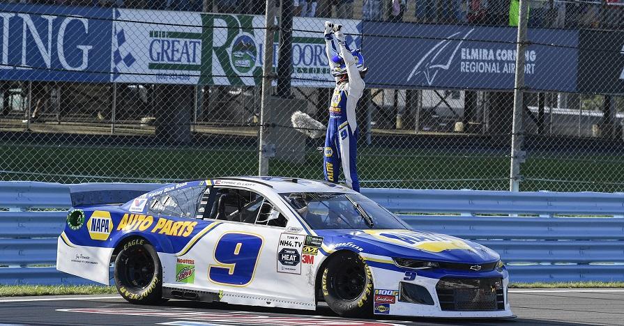 #9: Chase Elliott, Hendrick Motorsports, Chevrolet Camaro NAPA AUTO PARTS, celebrates after winning.