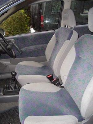 Cloth car seats.