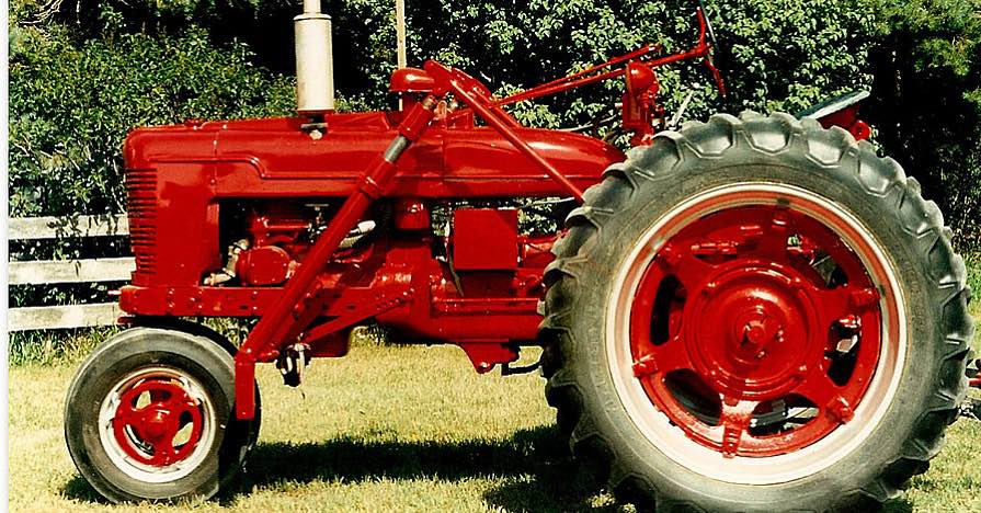 Red customized tractor