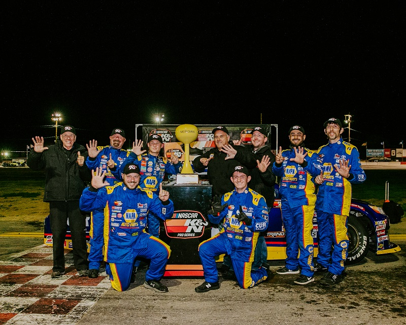 Derek Kraus 16 NAPA AUTO PARTS NASCAR KN West Meridian win