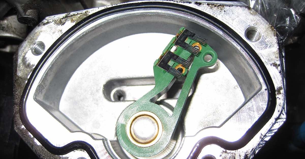 The inside of a throttle position sensor