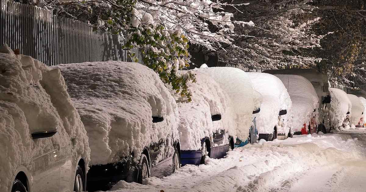 Cars covered in snow parked on the side of the street