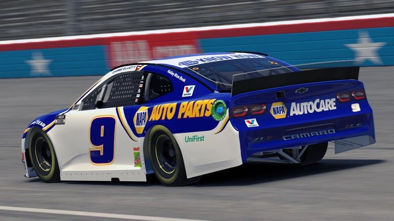 Chase Elliott iRacing Texas 2020 NAPA 9 eNASCAR Pro Invitational Series tail