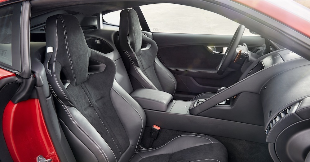 Front-seat view of a clean car interior
