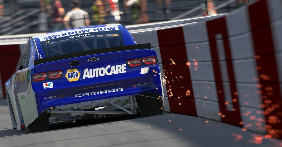 Chase Elliott iRacing eNASCAR Richmond 2020 NAPA AutoCare sparks