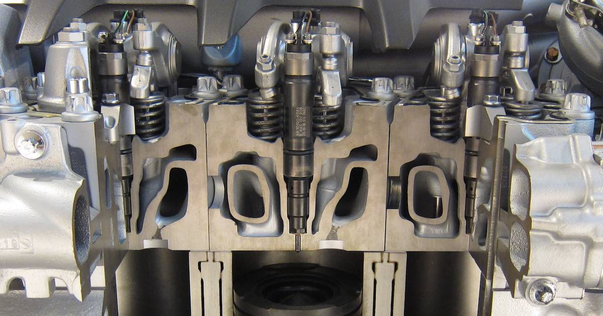 Cutaway of an engine cylinder head and block