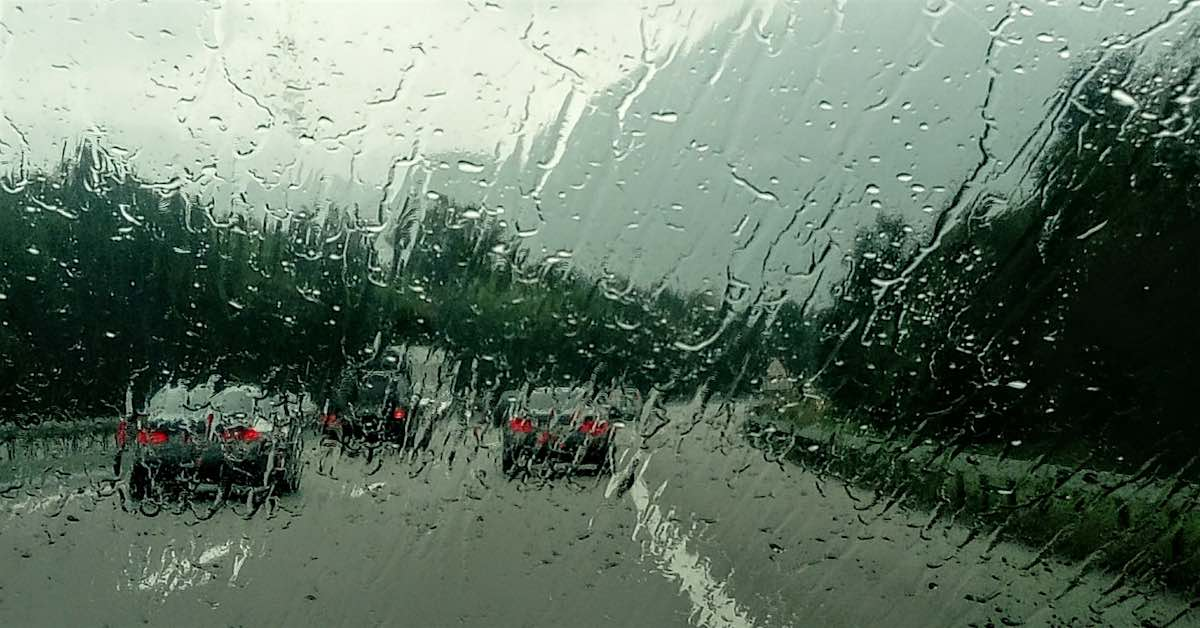 A rainy drive on the highway