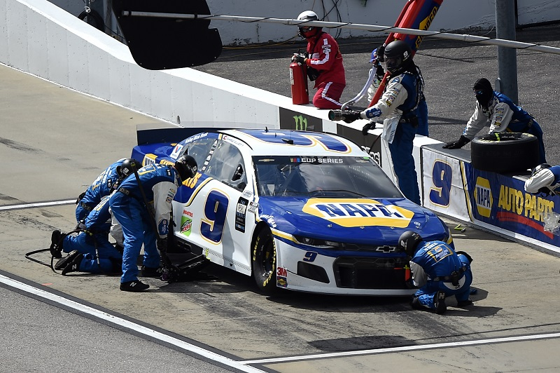 DARLINGTON, SOUTH CAROLINA - MAY 17: Chase Elliott, driver of the #9 NAPA Auto Parts Chevrolet, pits during the NASCAR Cup Series The Real Heroes 400 at Darlington Raceway on May 17, 2020 in Darlington, South Carolina. NASCAR resumes the season after the nationwide lockdown due to the ongoing coronavirus (COVID-19). (Photo by Jared C. Tilton/Getty Images)