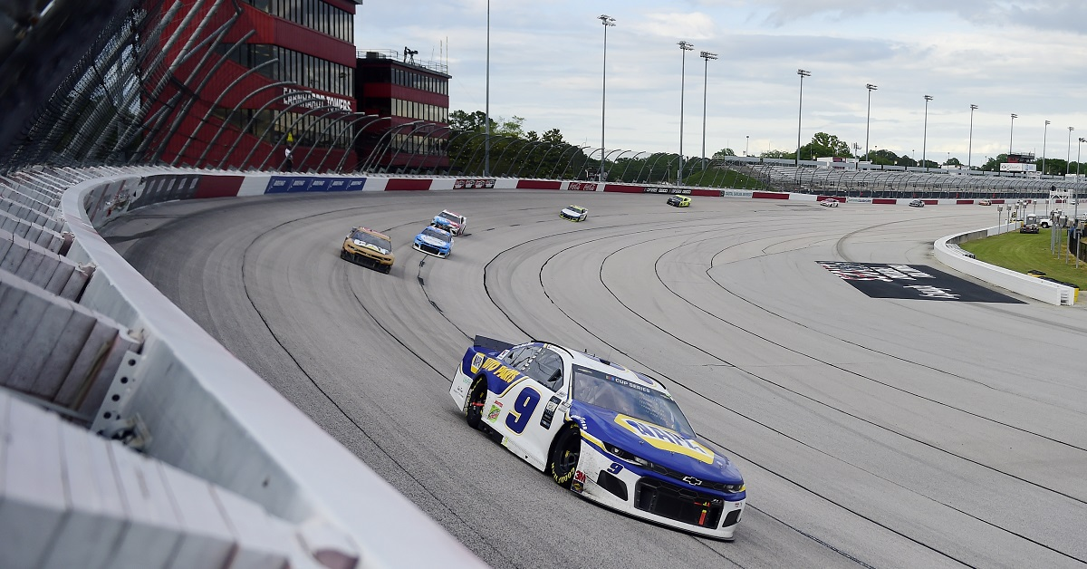 DARLINGTON, SOUTH CAROLINA - MAY 17: Chase Elliott, driver of the #9 NAPA Auto Parts Chevrolet, leads a pack of cars during the NASCAR Cup Series The Real Heroes 400 at Darlington Raceway on May 17, 2020 in Darlington, South Carolina. NASCAR resumes the season after the nationwide lockdown due to the ongoing coronavirus (COVID-19). (Photo by Jared C. Tilton/Getty Images)2020 NAPA AUTO PARTS 9