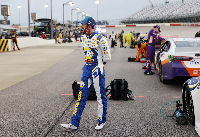 DARLINGTON, SOUTH CAROLINA - MAY 20: Chase Elliott, driver of the #9 NAPA Auto Parts Chevrolet, stands on the grid prior to the NASCAR Cup Series Toyota 500 at Darlington Raceway on May 20, 2020 in Darlington, South Carolina. (Photo by Chris Graythen/Getty Images)