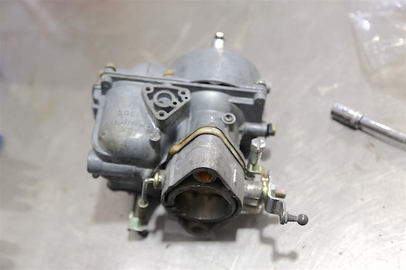 The finished carb is ready to go back on the car. We were able to carburetor refresh it without changing any of the settings, it fired up and ran well.