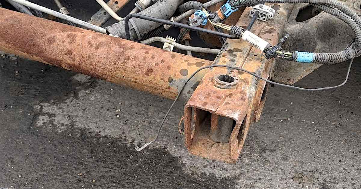 Close-up of a rusty car frame