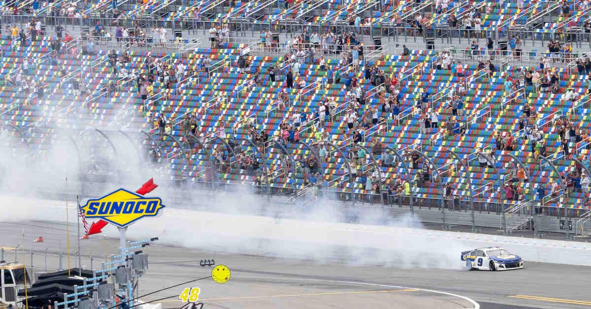 #9: Chase Elliott, Hendrick Motorsports, Chevrolet Camaro NAPA Auto Parts celebrates his victory for the fans