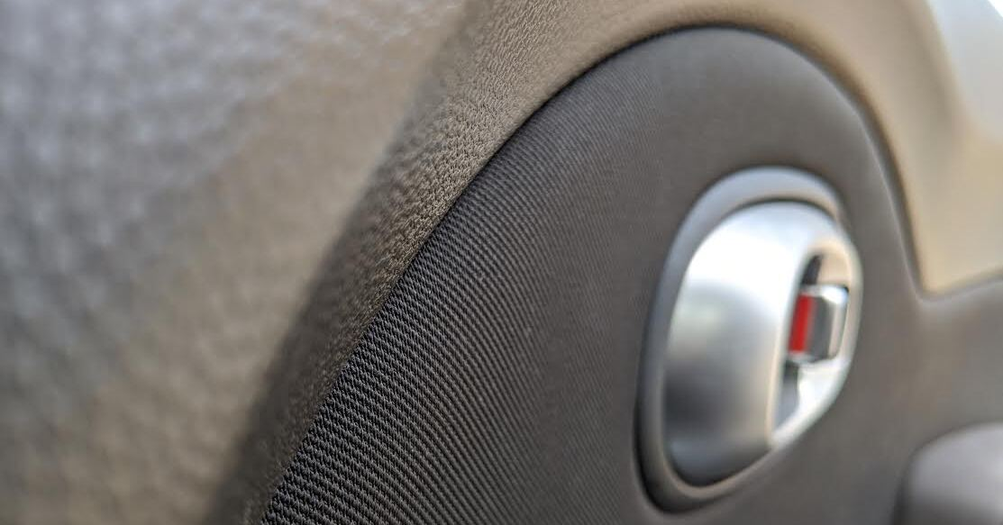 Closeup of a car door lock
