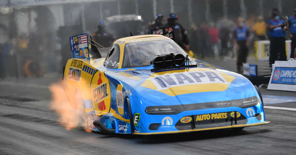 Ron Capps NHRA SpringNationals Houston 2020 NAPA blue chrome