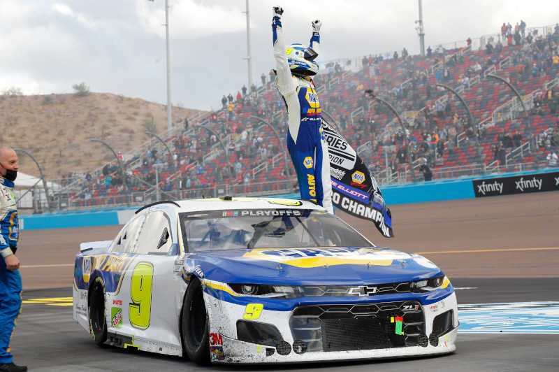 #9: Chase Elliott, Hendrick Motorsports, Chevrolet Camaro NAPA Auto Parts, celebrates after winning the 2020 Nascar Cup Series Championship