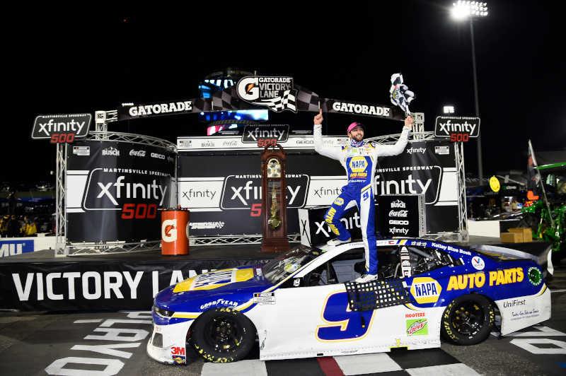 #9: Chase Elliott, Hendrick Motorsports, Chevrolet Camaro NAPA Auto Parts, celebrates after winning in Martinsville.