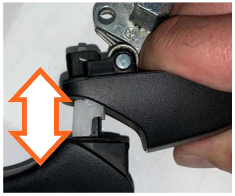 Expand the handle to the open position and place the provided holding tool onto the handle slider to keep the handle in the open position.