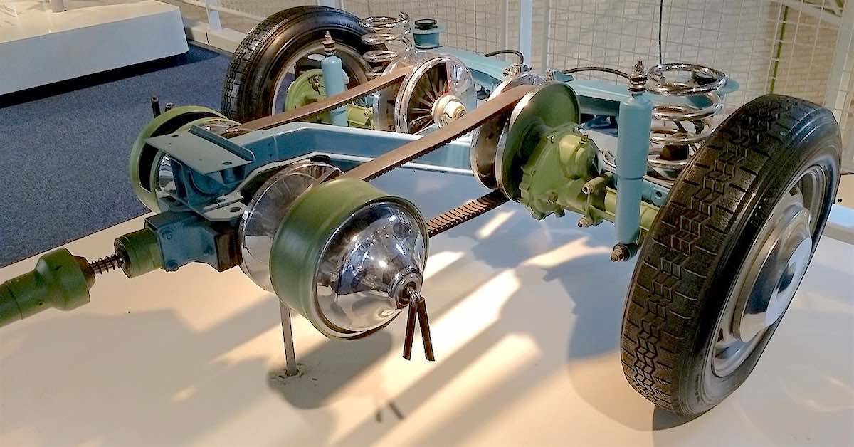 A late-60s continuously variable transmission, featuring rubber drive belts.
